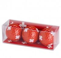 Golfball 3er Pack, Schweizerkreuz rot