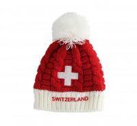 Kinder Wintermütze Schweizerkreuz rot