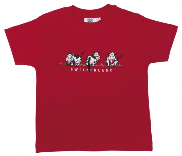 Kinder T-Shirt 3 Milch-Kuh, rot