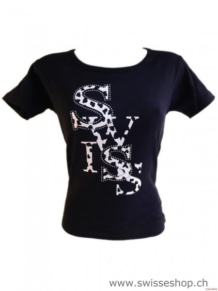 T-Shirt SWISS KUH-STRASS schwarz