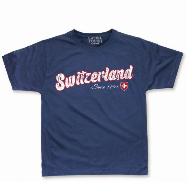 T-Shirt Switzerland Scratch, blau