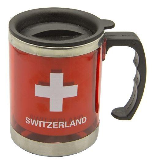 Thermostasse Schweizerkreuz Switzerland rot