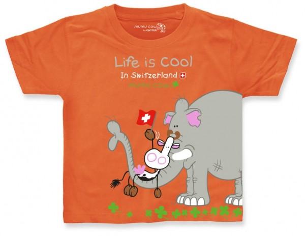 Kinder T-Shirt Mumu Cow Elefant, orange