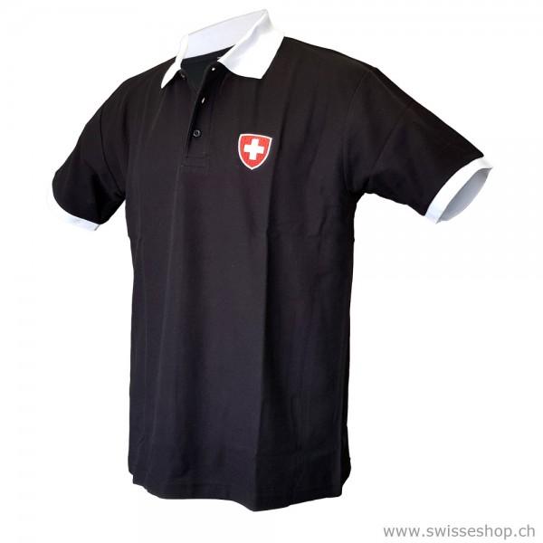 Herren Poloshirt Schweizer Wappen, schwarz