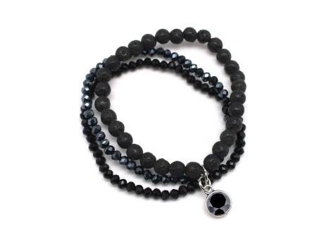Armband Lava Stein, schwarz