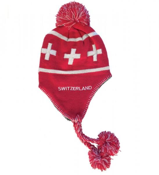 Tibeter Wintermütze mit Schweizerkreuz, rot