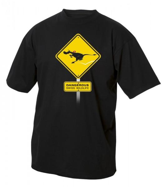 T-Shirt Schweizer Wild-Kuh, schwarz