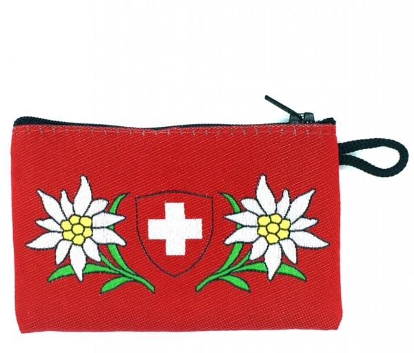 Geldtasche gewoben, Edelweiss Schweizer Wappen