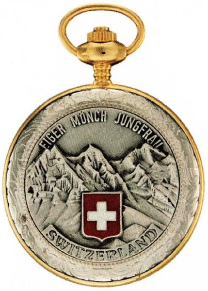 Taschenuhr Bolux 3P-17 Eiger Mönch Jungfrau mit Kette