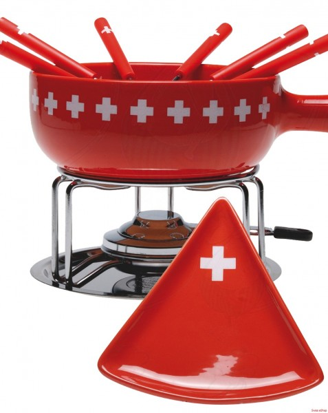 Käse Fondue-Set CH-Band- 15-teilig- rot