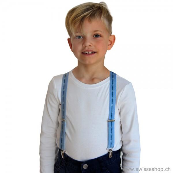 Kinder Hosenträger, Sennenmuster hellblau