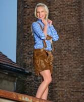 Damen Lederhose kurz, dunkelbraun XS