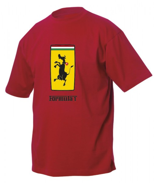 T-Shirt Formula 1 Schweizer Wild-Kuh, rot