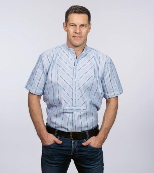Herren Edelweiss-Hemd, kurzarm mit Stehkragen SB, hellblau