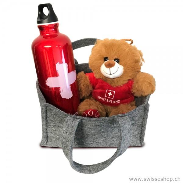 Geschenkset Teddybär & Sigg Flasche