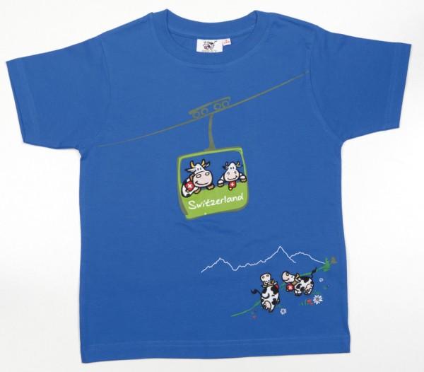 T-Shirt Seilbahn-Kuh, blau