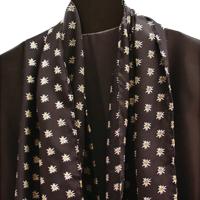 Foulard Edelweiss, 40 x 152 cm, schwarz, 100% Seide