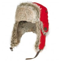 Wintermütze mit Pelz, Loden/rot