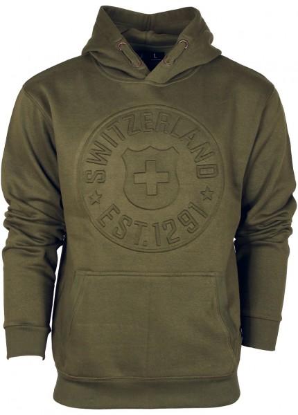 Hoodie Sweater Switzerland Est. 1291, olive