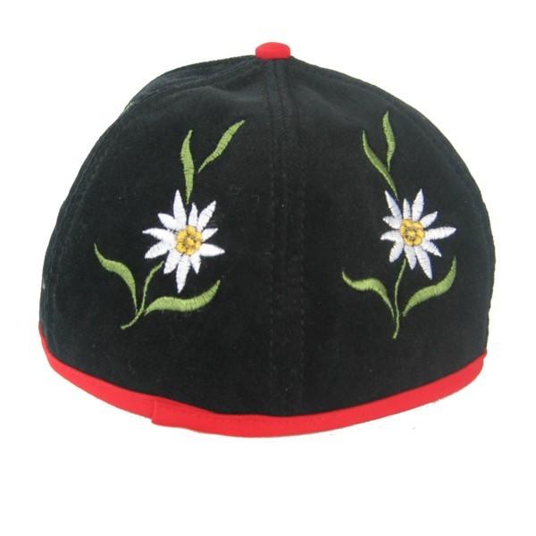Sennenhut mit besticktem Edelweiss, schwarz