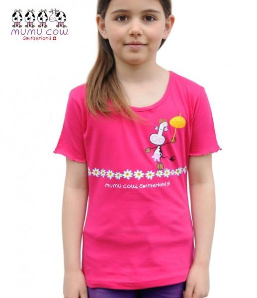 Mädchen T-Shirt Mumu Cow Seiltänzerin, fuchsia