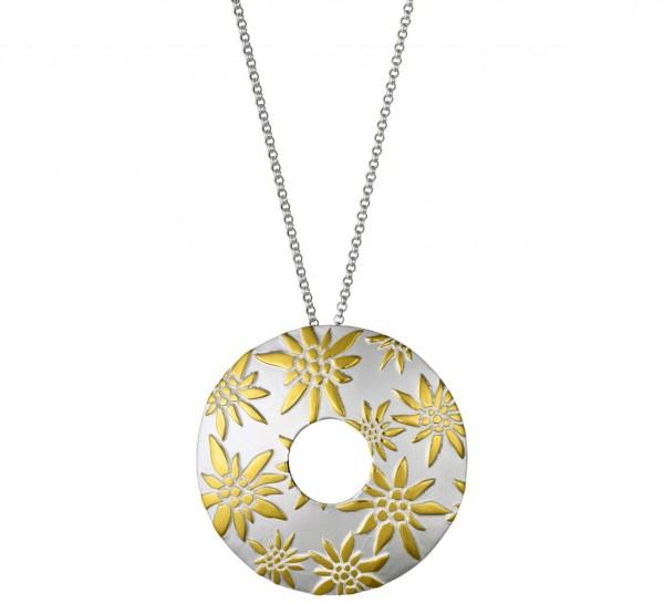 Anhänger Edelweiss Kreis mit Rolokette, 925 Silber vergoldet