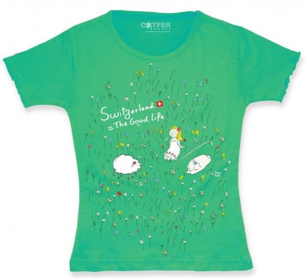 Mädchen T-Shirt Switzerland, The Good Life, grün