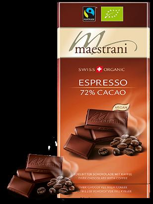 Swiss Organic Tafelschokolade ESPRESSO, 72% CACAO, 80g