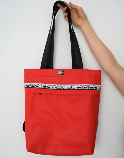 Vielseitige Tasche 4 in 1, rot Scherenschnitt