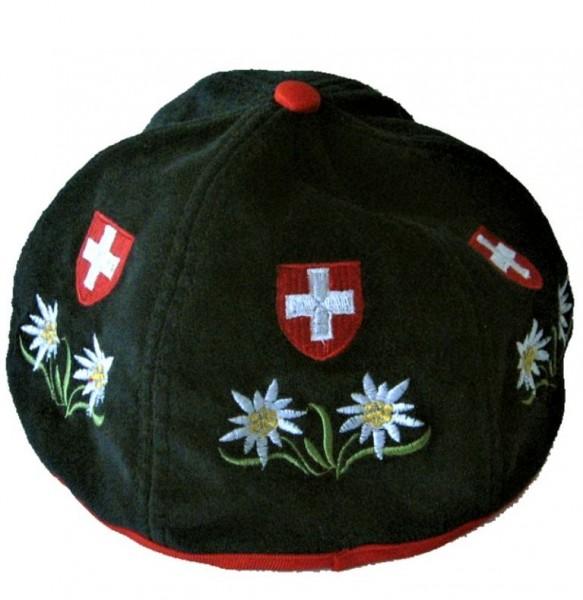 Sennenhut Edelweiss Schweizerkreuz bestickt