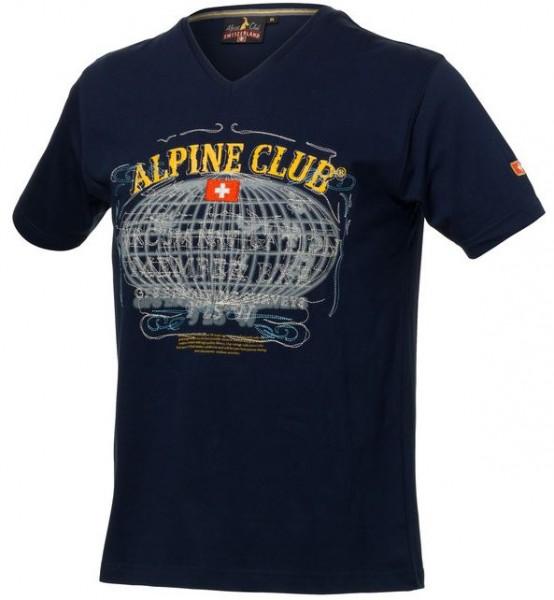 T-Shirt Vintage mit V-Ausschnitt, blau