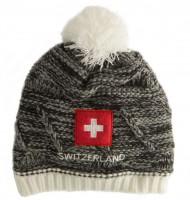 Wintermütze Schweizerkreuz, grau
