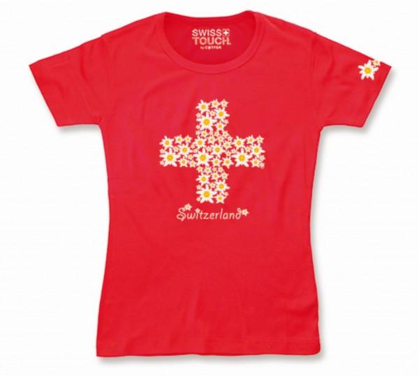 Damen T-Shirt Edelweiss CH-Kreuz rot