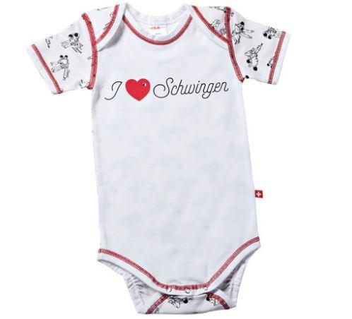 "Baby-Body ""I Love Schwinger"", kurzarm, weiss"