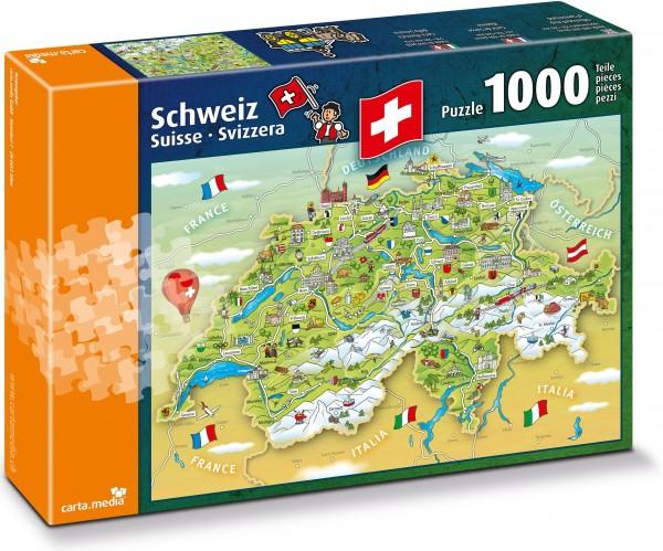 Puzzle 1000 Teile Illustrierte Schweizerkarte