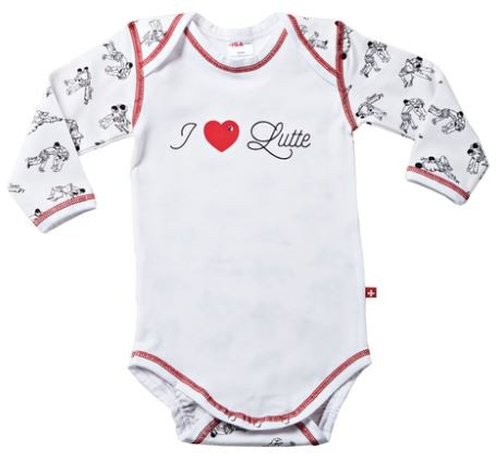 "Baby-Body ""I Love Lutte"", langarm, weiss"