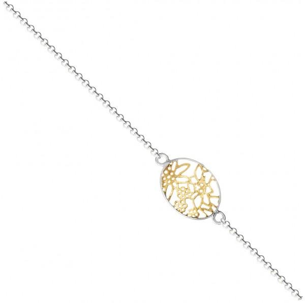 Armband Edelweiss Rolokette, 925 Silber vergoldet