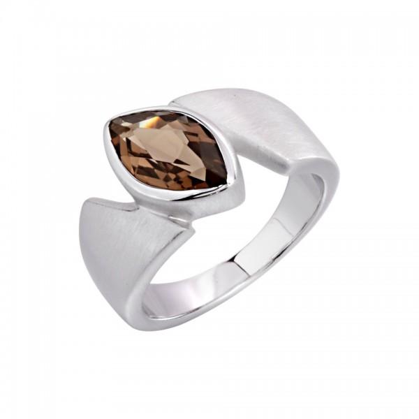 SWISSROCKS - Ring Silber 925 rhodiniert mit Rauchquarz