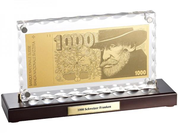 1000 Schweizer Franken mit Aufsteller
