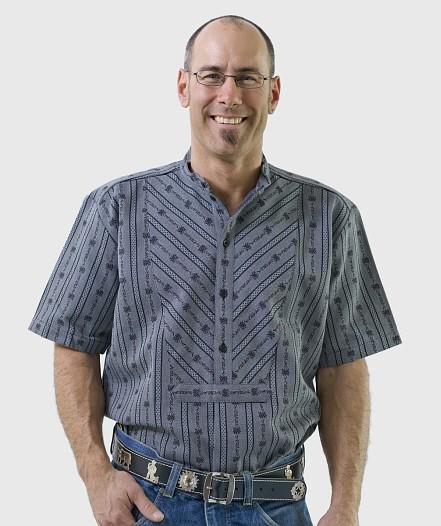 Herren Edelweiss-Hemd, kurzarm mit Stehkragen SB