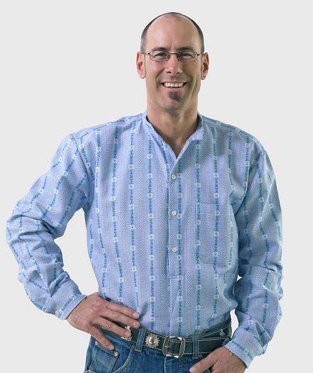Herren Edelweiss-Hemd- Langarm mit Stehkragen