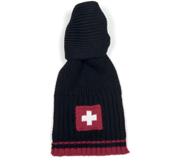 Winterschal Schweizer Kreuz, schwarz