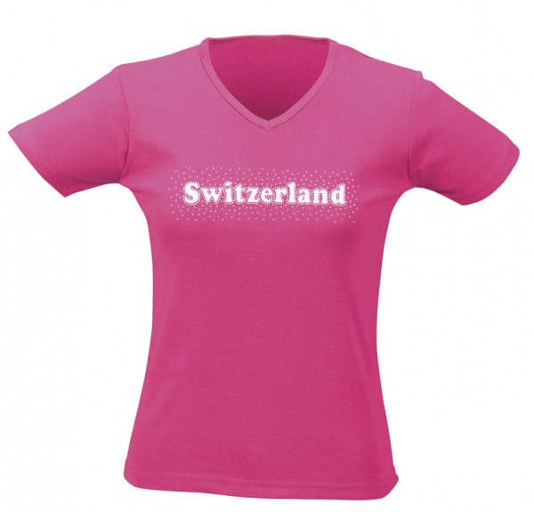 Damen T-Shirt CH silber Stein, fuchsia