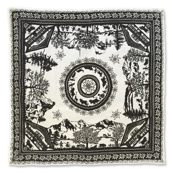 Nickituch Scherenschnitt, 55 x 55 cm, schwarz/weiss