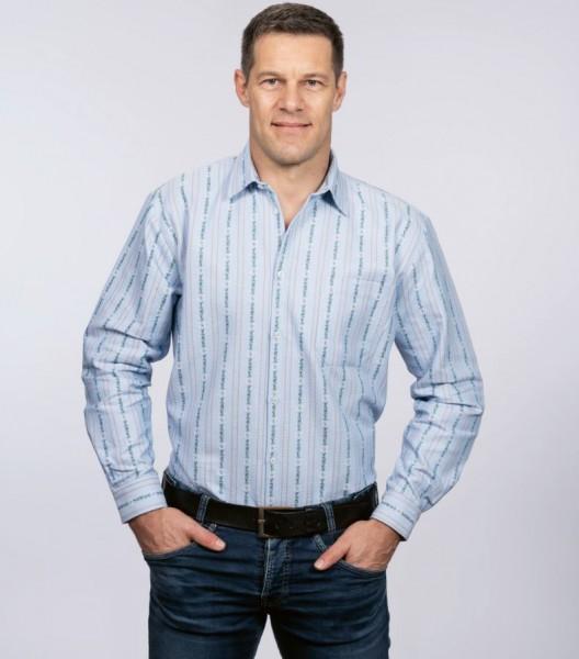 Herren Edelweiss-Hemd, Langarm mit Kent Kragen SP, hellblau