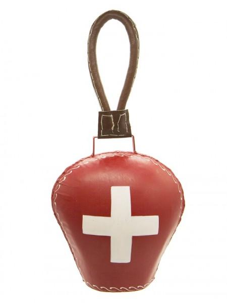 Rote Glocke Schweizerkreuz mit Lederband