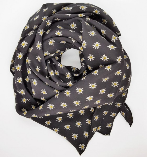 Foulard Edelweiss, 110 x 110 cm, schwarz, 100% Seide