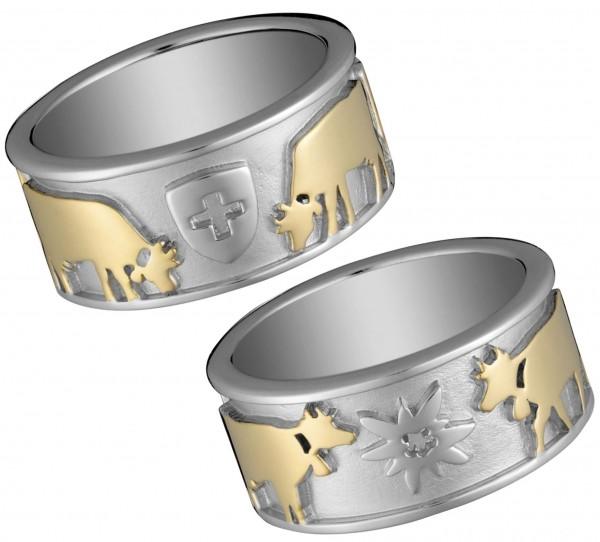 Ring Schweizerwappen Edelweiss Kuh 925 Silber vergoldet, 9 mm