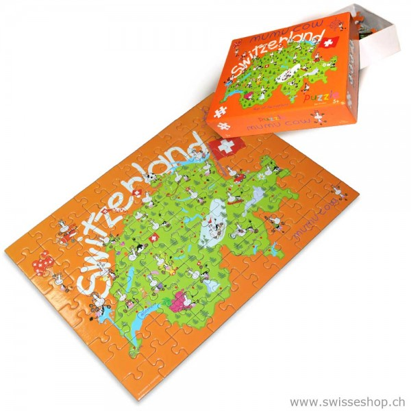 Puzzle Mumu Cow Schweizerkarte, 90 Stück