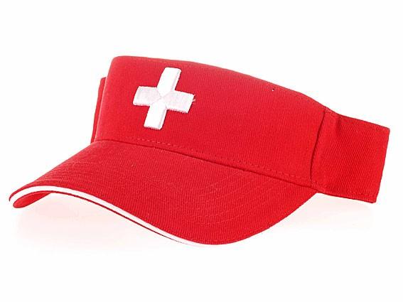Sonnen-Schild rot mit Schweizerkreuz gestickt